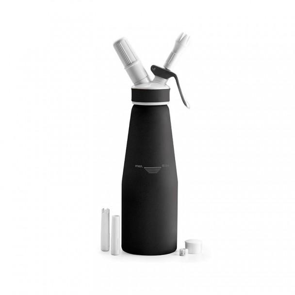 Bottiglia Sifone Panna In Alluminio Nero